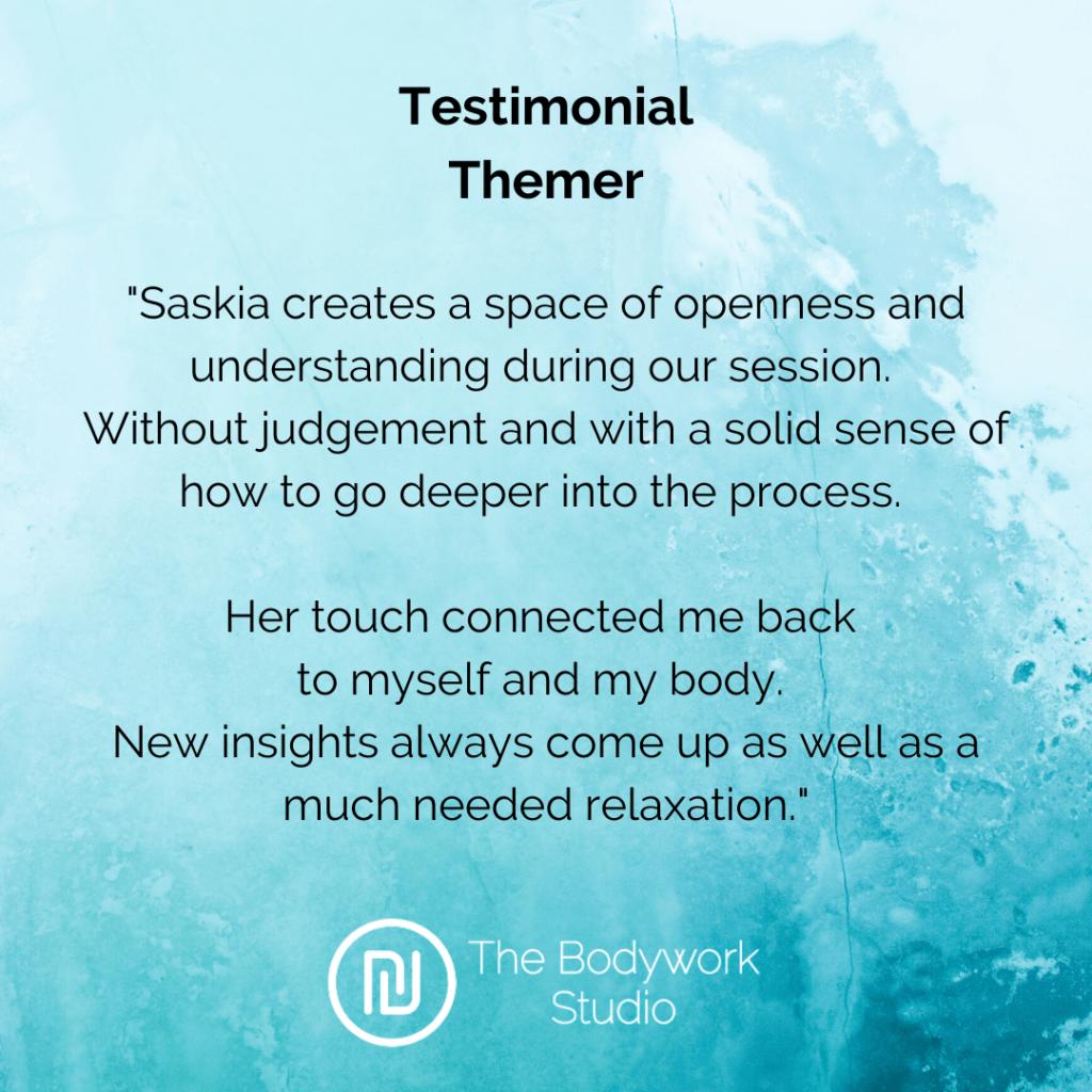 Testimonial Review Themer Bodywork Touch&Awareness Berkel en Rodenrijs Rotterdam Den Haag Bodywork Touch & Awareness Massage Relax Stress Burnout Breathwork