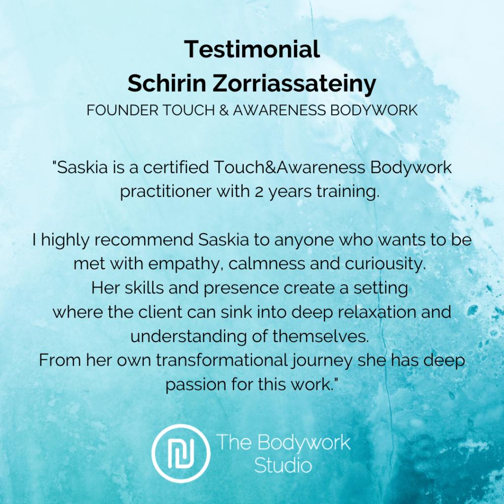 Schirin Testimonial Review Bodywork Touch&Awareness Berkel en Rodenrijs Rotterdam Den Haag Bodywork Touch & Awareness Massage Relax Stress Burnout Breathwork